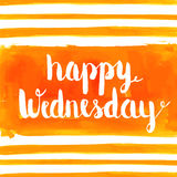Happy Wednesday watercolor hand paint greeting card. Happy Wednesday hand paint watercolor background. Vector greeting card Royalty Free Stock Photo