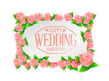 Happy weeding anniversary stamp floral board Royalty Free Stock Photo