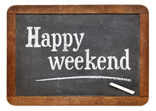 Happy weekend on blackboard Royalty Free Stock Photography