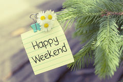 Happy Weekend Break. Happy weekend note for day offs, vacations, holidays Royalty Free Stock Photo