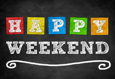 Happy Weekend. Chalkboard background concept Stock Images