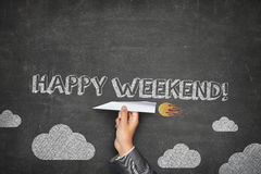 Happy weekend concept on black blackboard Royalty Free Stock Photography