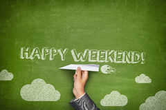 Happy weekend concept on green blackboard Royalty Free Stock Photography