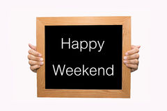 Happy Weekend. Hand write Happy Weekend word concept Stock Photos