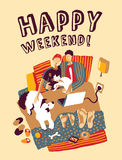 Happy weekend home bad family and pets Stock Image