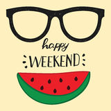 Happy weekend. Positive handwritten design cards, t-shirt, posters, social media Stock Photography