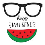 Happy weekend. Positive handwritten design cards, t-shirt, posters, social media Royalty Free Stock Photography