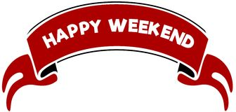 HAPPY WEEKEND on red band. Stock Photo