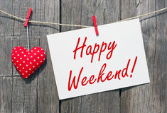 Happy Weekend - red heart with sign and text Stock Images