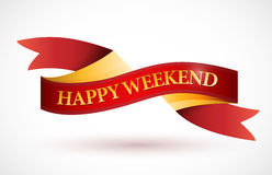 Happy weekend red ribbon illustration design Stock Image