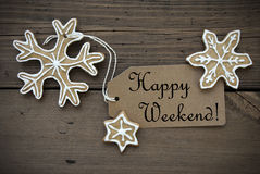 Happy Weekend Tag with Ginger Breads Royalty Free Stock Photos