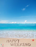 Happy weekend on a tropical beach under clouds Stock Photography
