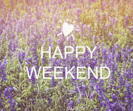 Happy weekend  word on blurred flower Stock Images