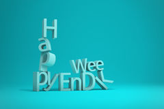 Happy Weekend Word Letters collapsing 3D Render Illustration. Happy Weekend Word Letters collapsing isolated on turquoise background, 3D Render Illustration Stock Images