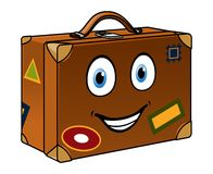 Happy well travelled cartoon suitcase Stock Images