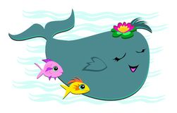 Happy Whale with 2 Fish Friends Stock Photos