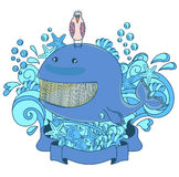 Happy whale. Whale with ocean doodles at in the background Royalty Free Stock Image