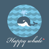 Happy whale. Blue frame with happy whale Stock Photo