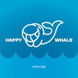 Happy whale logo design. Vector illustration. Stock Images