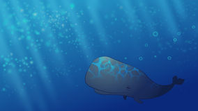 Happy Whale. Happy smiling Whale in the blue dreamy ocean Stock Photos