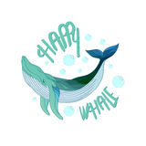 Happy whale vector drawing illustration Royalty Free Stock Images