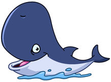 Happy whale. Vector illustration of a happy cartoon whale Stock Photo