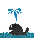 Happy whale on wave made from color pencil paper craft. Technique Stock Photography