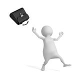 Happy White Businessman With Black Briefcase. 3d Render Illustration Stock Photo