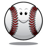 Happy white cartoon baseball ball Stock Photo