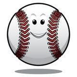 Happy white cartoon baseball ball Stock Photo