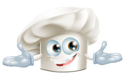 Happy white chefs hat cartoon man. Happy white chef's hat cartoon man smiling Royalty Free Stock Image