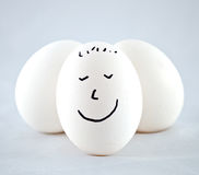Happy White Egg with smile. Stock Image