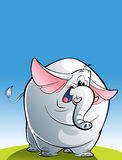 Cartoon happy white elephant Stock Images