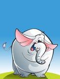 Cartoon happy white elephant Stock Images