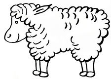 Happy white sheep Stock Image