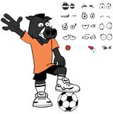 Happy Wild boar soccer cartoon expressions set Stock Images