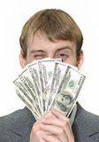 Happy winking businessman holding money Royalty Free Stock Photos