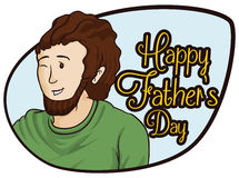 Happy Winking Dad in a Sign for Father's Day Celebration, Vector Illustration. Young smiling bearded dad winking at you in him Father's Day Stock Image