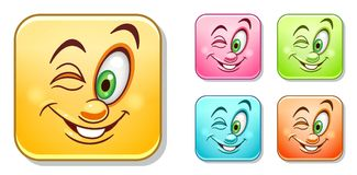 Happy wink Emoticons Collection Royalty Free Stock Images