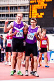 Happy winner athletes. Loughborough university team at London prepares series at the Olympic park in London on May 7, 2012. The London Prepares series is the Royalty Free Stock Image