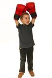 Happy winner boxer kid Stock Photos