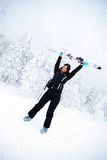Happy winner female skier Royalty Free Stock Photo