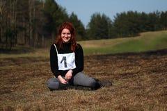 Happy winner girl Stock Image