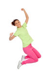 Happy winner girl jumping. Isolated on a white background Royalty Free Stock Photos