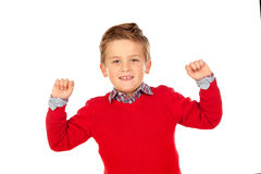 Happy winner kid with red jersey Royalty Free Stock Photo