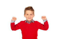 Happy winner kid with red jersey Stock Image