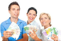 Happy winner people holding money Stock Photography