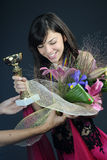 Happy winner receiving award stock image