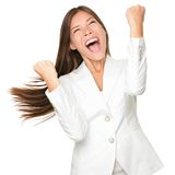 Happy winner - success business woman stock images
