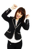 Happy winner - success business woman Stock Photography